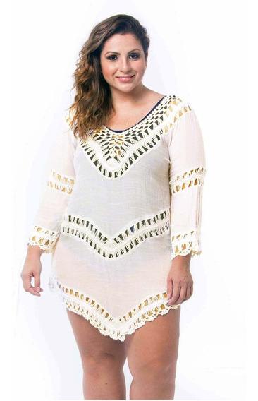 Saída De Praia Plus Size Tricot Croche Verão Rendada