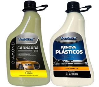Kit Cera Carnauba Plus 3l + Renova Plastico 3l Carros Motos