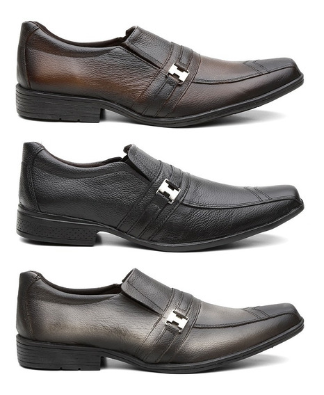 Sapato Social Masculino Em Couro Legitimo 3 Pares +frete Top