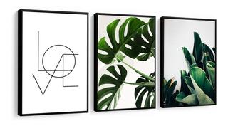 Quadros Decorativos Folhagens Folhas Verdes Love Amor Para Sala Quarto Recepção Escritório Decoração Criativa