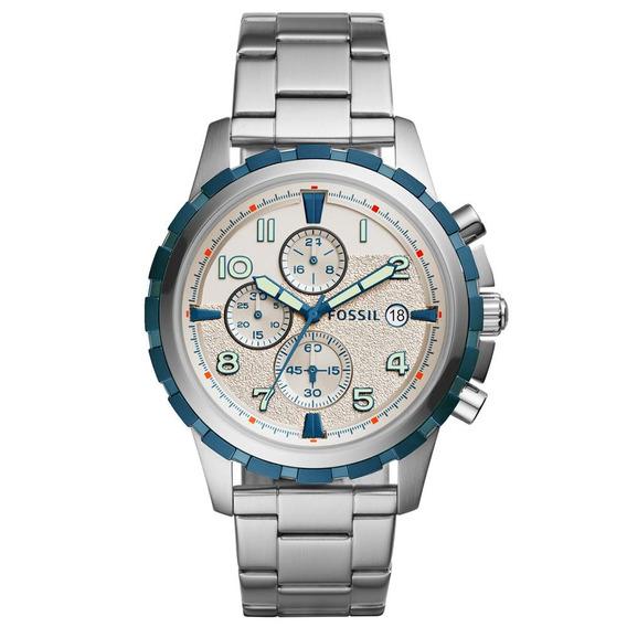 Relógio Fossil Aço Aro Azul Fs5319/1bn