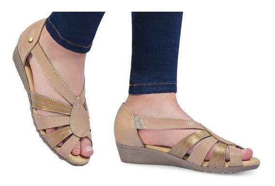 Sandalias Casuales Dama Mujer Comodos Dorado Maquillaje Flat