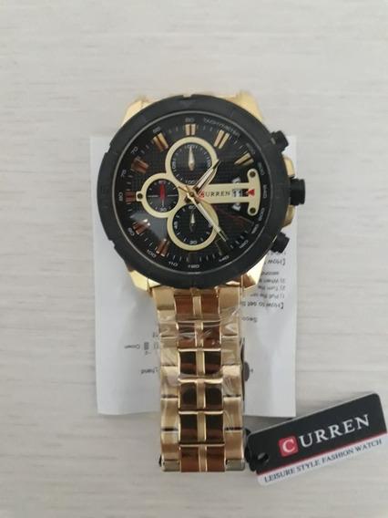 Relógio Quartz Militar Luxo Curren 8337 Dourado + Caixa