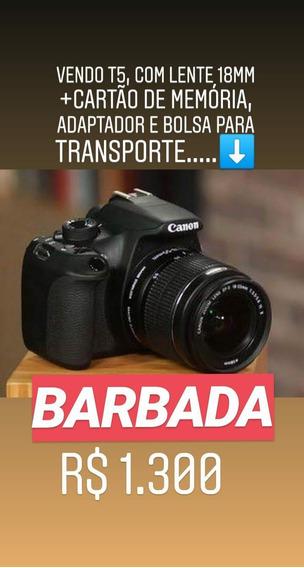 Câmera Cannon T5 Rebel E Lente 18mm Com Case E Cartão