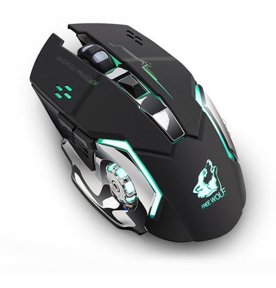 Mouse Para Jogos Sem Fio Recarregável Preto