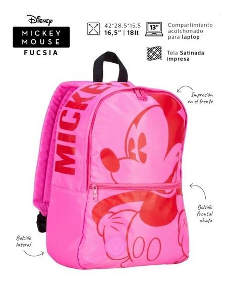 Mochila Mickey Mouse Fucsia Espalda Escolar Mooving