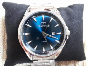 Relógio Original Technos Prata Brilhante Fundo Azul Petróleo