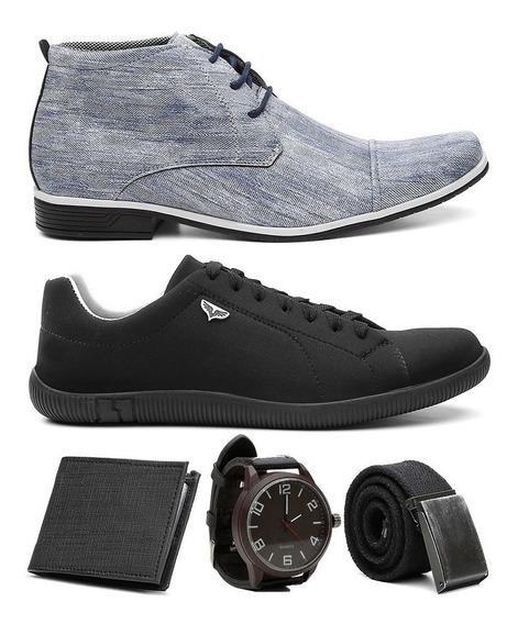 Combo Sapato Em Jeans Social + Sapatenis Cores + Brindes