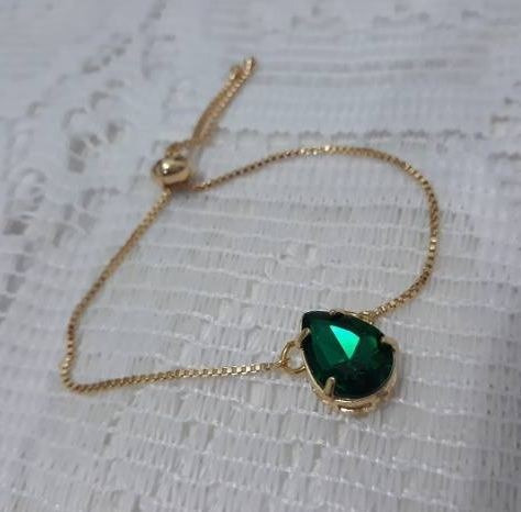 Pulseira Bracelete Dourada Pedra Zircônia Gota Verde F Ouro