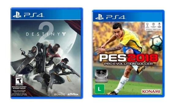Combo 2 Jogos Destiny 2 + Pes 2018 Ps4 Mídia Física Atacado