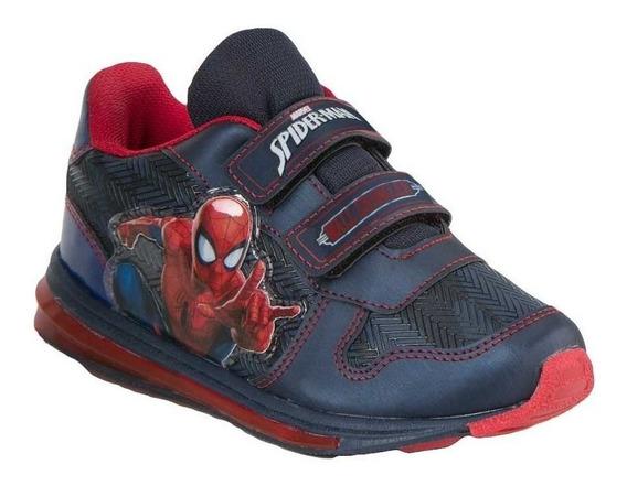 Tenis Spiderman Niño Con Luz Sin Agujetas Azul Comodo Casual