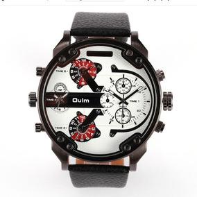 Relógio Importado Masculino Branco Couro Oulm 2 Maquinas