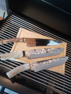 Cuchillo Artesanal Forjado A Mano Acero Al Carbón Y A Inox