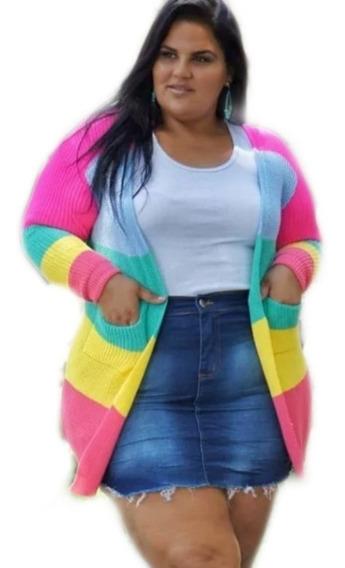 1 Kimono Tricot Cardigan Casaco Colorido Blazer Plus Size