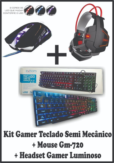 Kit Gamer Teclado, Mouse E Headset Gamers Profissionais