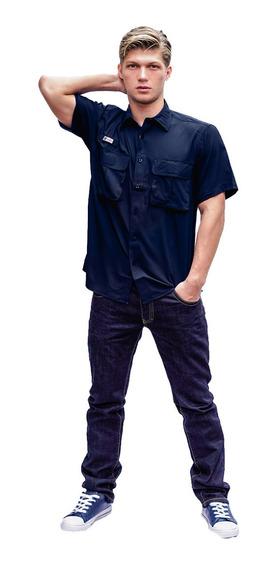 Camisas Ke Manga Corta Azul Gris Hombre #cc11-2722