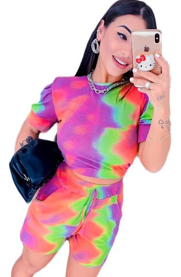 Tie Dye Conjunto Feminino Short E Blusa Atacado Tendência