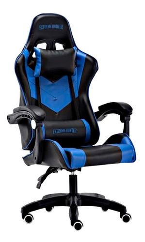 Imagen 1 de 3 de Silla de escritorio Ideon Extreme Hunter Pro gamer ergonómica  negra y azul con tapizado de cuero sintético
