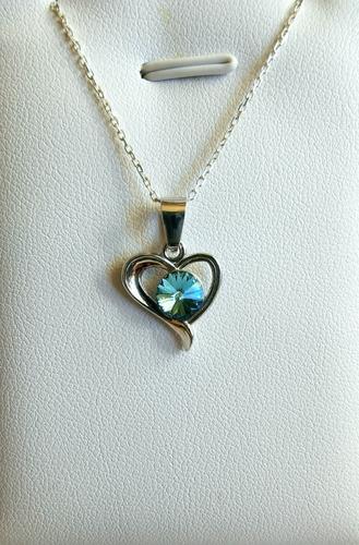 Colgante Corazón De Plata 925 Y Cristal Swarovski.