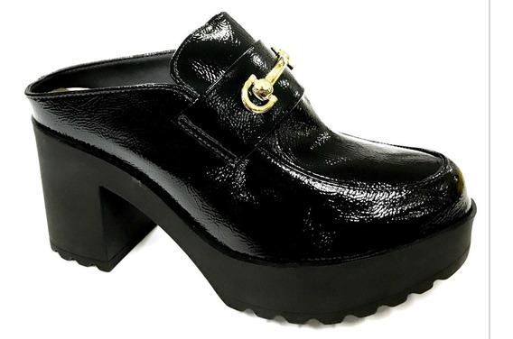 Sapato Moleca Beira Rio Mule Plataforma Verniz Tratorado