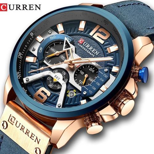 Reloj Deportivo Elegante Para Hombre - Curren Azul Cuero Mil