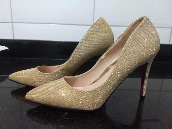 Scarpin Importado Festa Dourado Glitter