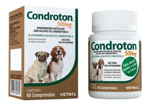 Regenerador Articular Vetnil Condroton 60 Comprimidos 500mg