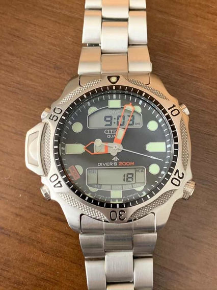 Relógio Citizen Aqualand Jp1010 - Fundo Preto - Impecável