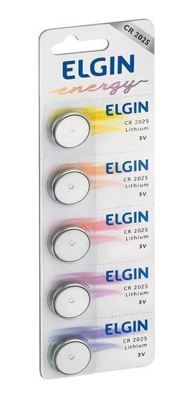 Kit 5 Baterias Moeda Cr2025 3v Pilha Lithium Elgin Cartela