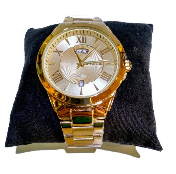Relógio Atlantis Analógico Dourado Com Calendário - G3407