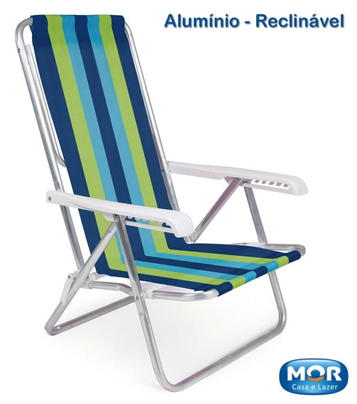 Cadeira Reclinável 8 Posições Alumínio Praia Listrada 5 Mor