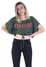 Blusa Cropped Verde Freedom Cordão Cintura