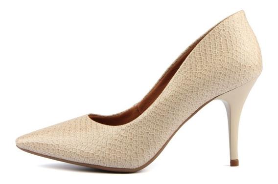 Sapato Feminino Scarpin Salto Medio 7 Cm Bico Fino Piton