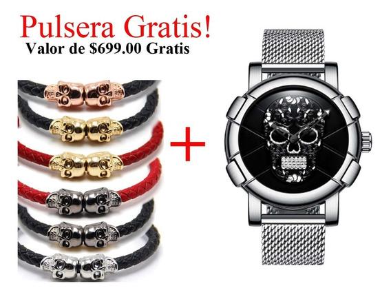 Reloj Calavera Sugar Skull Plata Steel Mexico Craneo Acero M