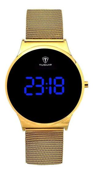 Relógio Feminino Dourado Luxo Digital Original Com Garantia