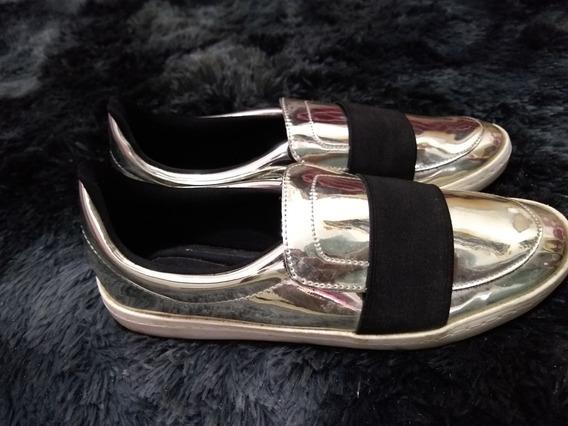Sapato Prateado Beira Rio Conforto Tam.38 Impecável