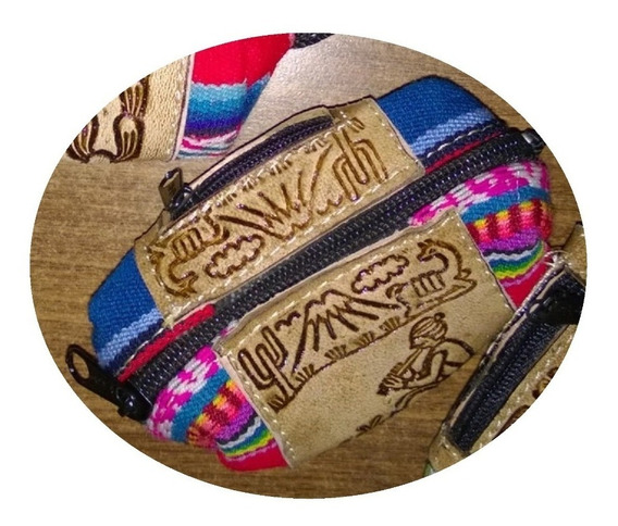 Monederos De Cuero Y Aguayo X10u - Barro Cocido