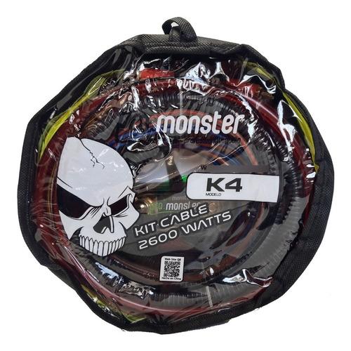 Kit De Cables 4 Gauges Monster K4 2600w Potencia Instalacion