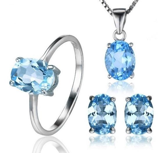 Anel Brinco Colar Conjunto Joias Pedra Preciosa Topázio Azul