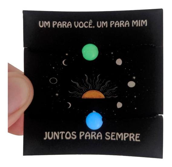 Conjunto Pulseira Casal Brilha Escuro Pedra Semi Natural