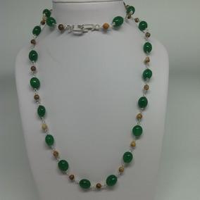 Colar Verde Com Esmeralda Indiana Jaspe Prata.pedra Natural