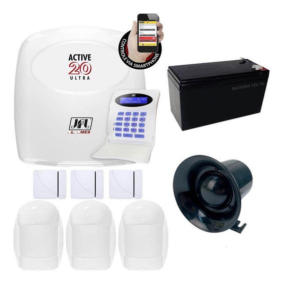Central Alarme Active 20 Ultra Monitorada Jfl C/ 6 Sensores