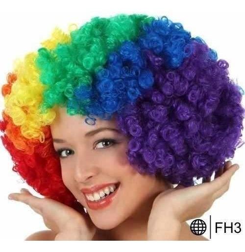 10 Peluca Payaso Afro Multicolor Cosplay Fiesta Disfraz Fh3