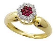 Extravasarjóias Anel Ouro Amarelo18k Diamantes E Rubis!