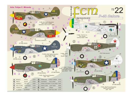 Decal P-40 (part 1) 1:72 Fcm Decals Fcm72022