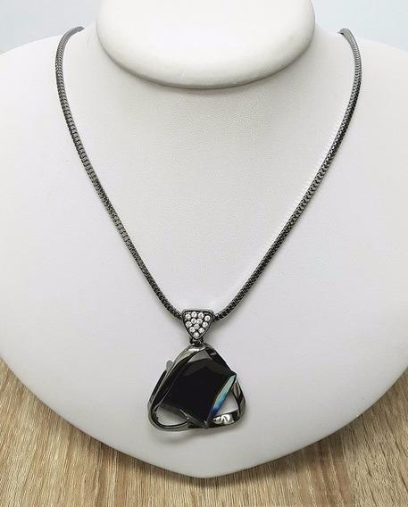 Maxi Colar Boho Chic Com Pedra Grande Formato Diamante