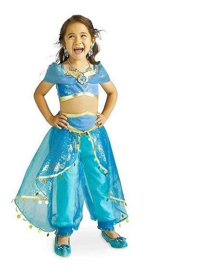 Fantasia Infantil Princesa Jasmine Aladdin Disney Voal Pavão