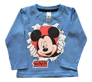 Remera Bebé Mickey Manga Larga Azul
