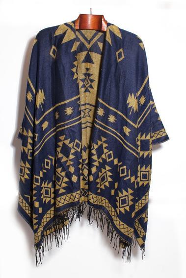 Ruanas Poncho Capas Pashminas Importadas Moda Azul Amarillo