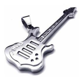 Colar Unisex Em Couro Ecológico Guitarra - Frete Grátis ! !